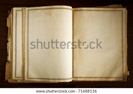 Opened old book with blank pages - stock photo