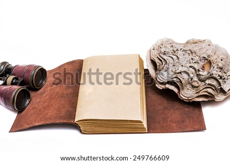 Opened old leather book isolated on white background - stock photo