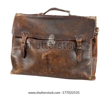 Opened old leather briefcase. Photo isolated on white background. - stock photo