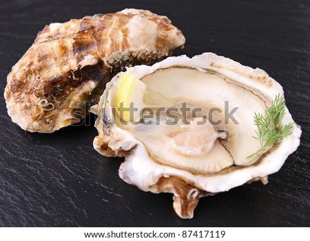 opened oyster - stock photo