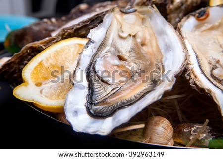 Opened Oysters on folk decorated plate with lemon and oyster knife in restaurant feeding with rose champagne  - stock photo