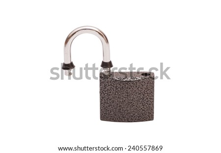 Opened padlock security isolated on white background  - stock photo