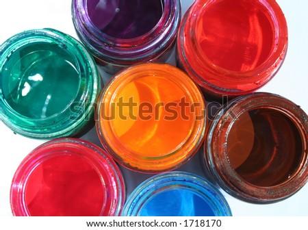 Opened paint buckets - stock photo