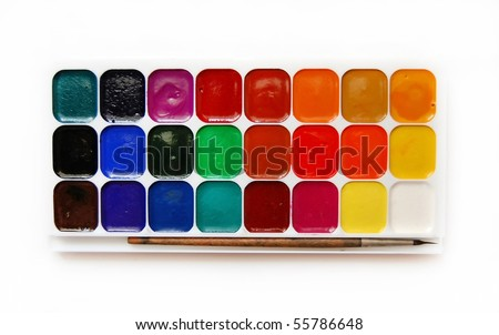 Opened paints with various colors - stock photo