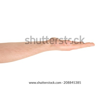 Opened palm facing up as caucasian hand gesture isolated over white background - stock photo