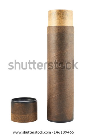 Opened paper tube with a cap made of old brown cardboard isolated over white background - stock photo
