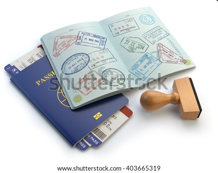 Opened passport with visa stamps and airline boading pass tickets isolated on white. Travel or turism concept. 3d illustration