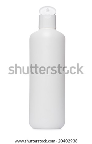 Opened plastic bottle with soap or shampoo without label reflected on white background