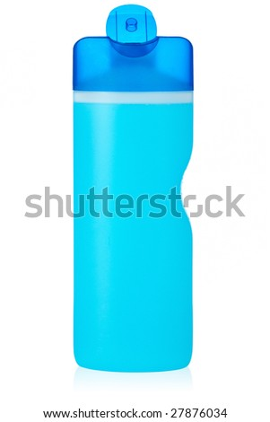 Opened plastic bottle with soap or shampoo without label reflected on white background - stock photo