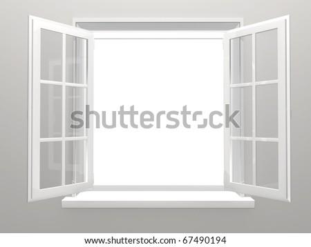 Opened plastic window. 3d render - stock photo