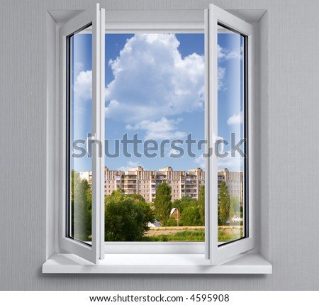 Opened plastic window new in room with view to city buildings - stock photo