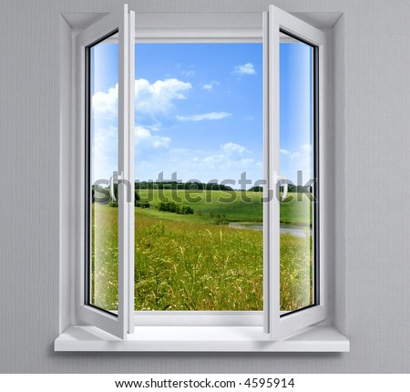 Opened plastic window new in room with view to green field - stock photo