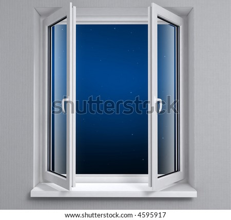 Opened plastic window with night sky - stock photo