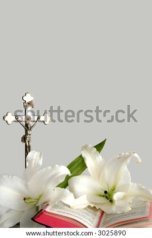 Opened prayerbook and old cross  on a white background - stock photo