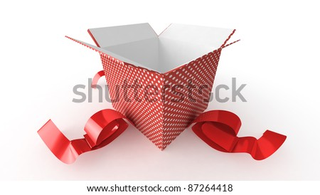 Opened present on white background - stock photo