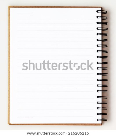 Opened recycle note book on white background