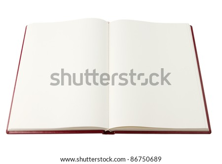 Opened red blank book isolated on white with clipping path - stock photo