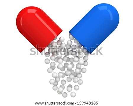 Opened red blue pill capsule with white granules. 3d render. Pills, drugs, medicine, healthcare concept - stock photo