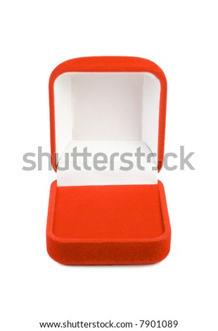 Opened red box for jewelry. Isolate on white. - stock photo