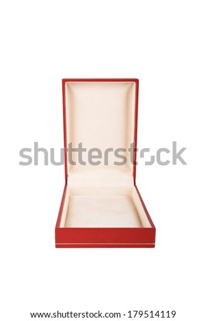 Opened red case isolated on a white background