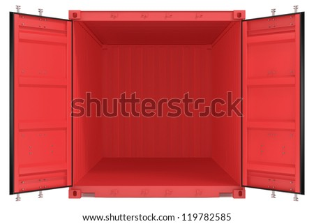 Opened red freight container isolated on white background - stock photo