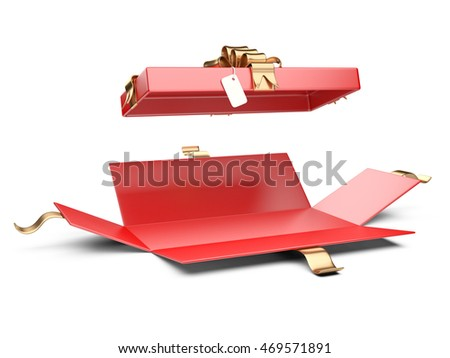 Opened red gift box blank with golden ribbon and bow. Isolated on a white background 3D illustration