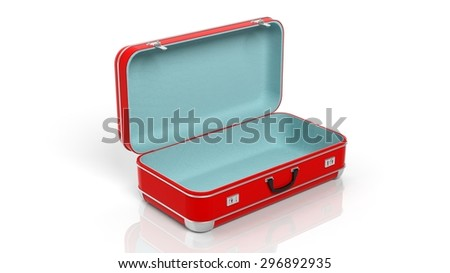 Opened red travel suitcase isolated on white background - stock photo