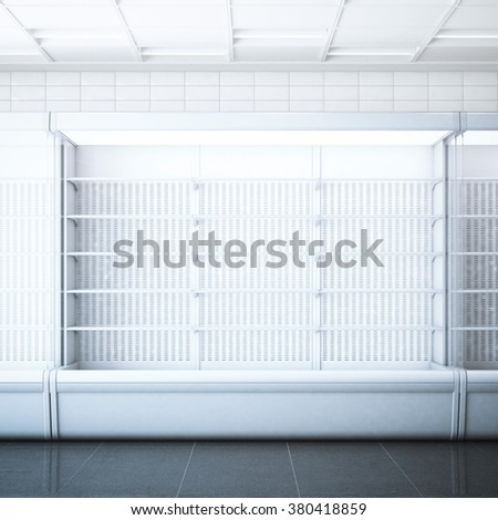 Opened refrigerator  in the store. 3d rendering