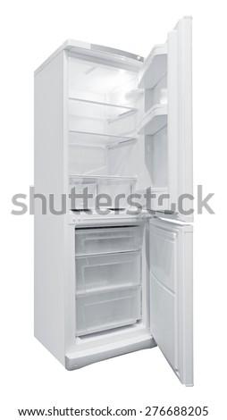 Opened Refrigerator isolated on white background - stock photo