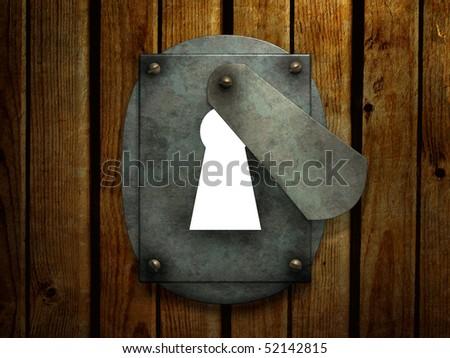 Opened retro keyhole - stock photo
