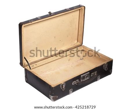Opened retro suitcase isolated on a white background - stock photo