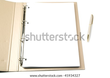 opened ring binder and pen on a white background - stock photo