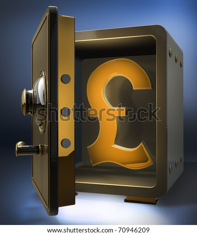 Opened safe with gold british pound symbol 3d render
