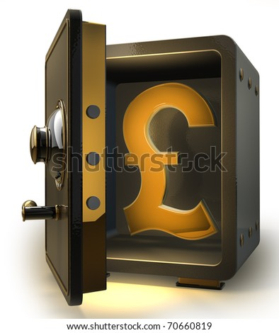 Opened safe with gold british pound symbol isolated on white background. 3d render