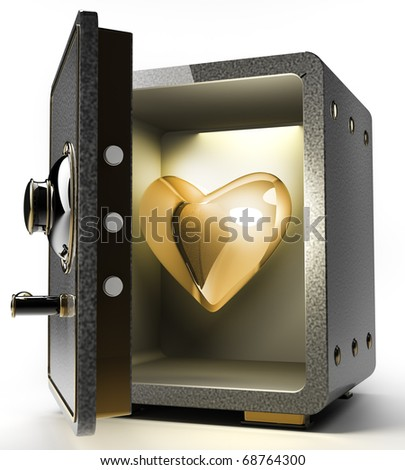 Opened safe with gold heart isolated on white background. 3D render