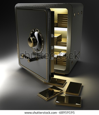 Opened safe with gold ingots isolated on black 3D render