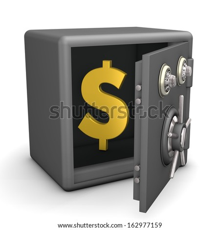 Opened safe with golden dollar symbol. White background.