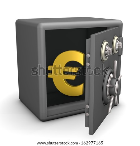 Opened safe with golden euro symbol. White background.