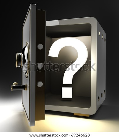 Opened safe with question mark isolated on black background. 3d render - stock photo