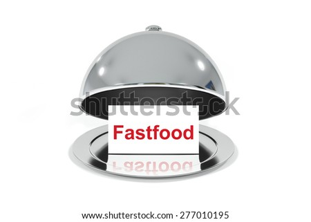 opened silver cloche with white sign fastfood isolated - stock photo