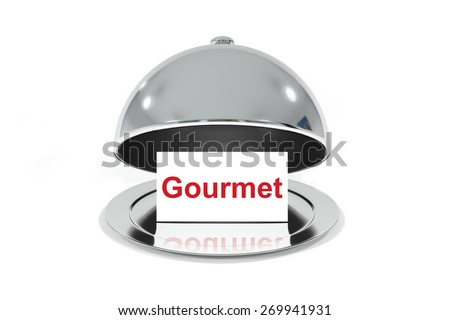 opened silver cloche with white sign gourmet isolated - stock photo