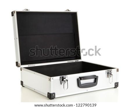 Opened silvery suitcase isolated on white - stock photo