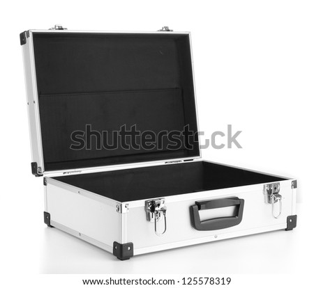 Opened silvery suitcase isolated on white