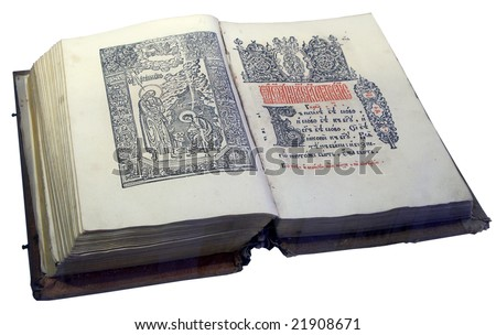 Opened Slavic ancient book written in old Cyrillic - stock photo