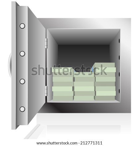 Opened steel safe filled with dollar notes packs isolated on white background. - stock photo