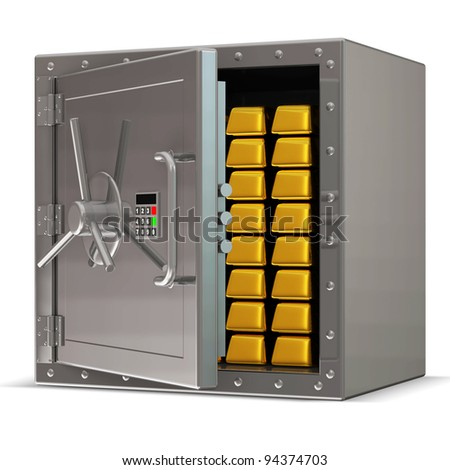 Opened Steel Safe with Electronic Lock and Golden Bars Inside