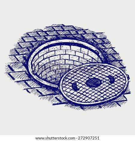Opened street manhole. Doodle style. Raster version - stock photo