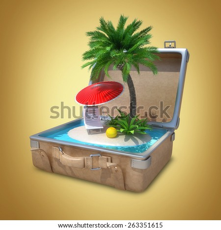 Opened Suitcase with a tropical beach inside. High resolution 3D  - stock photo