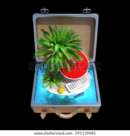 Opened Suitcase with a tropical beach inside isolated on black background. High resolution 3d