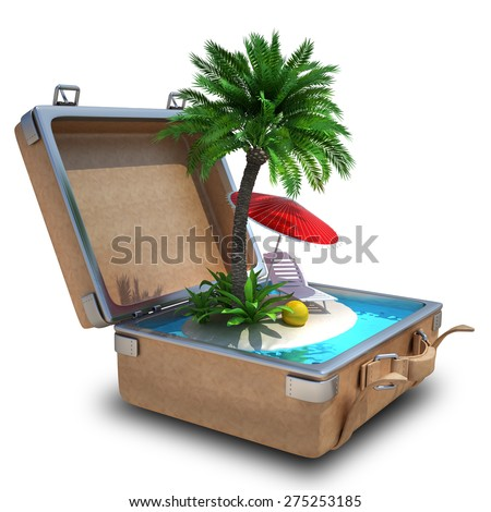 Opened Suitcase with a tropical beach inside isolated on white background. High resolution 3d - stock photo